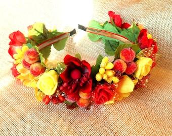 Bridal Accessories, Wreath for brides-Wedding accessories Ukrainian wreath handmade Український віночок  Вінок для наречених з квітами Обруч