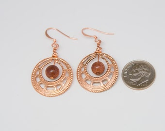 Copper and Goldstone Reiki-Infused Earrings