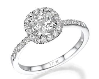 Diamond Engagement Ring, Cushion Cut Diamond, 14K White Gold Ring, Yellow Diamond Engagement Ring, Vintage Halo Ring, Art Deco Engagement