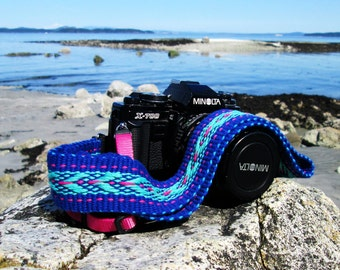 Custom Handwoven Camera Strap, Royal Blue, Teal and Raspberry, Strong Comfortable Cotton./ Leather  Camera Strap Ends