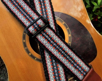Handwoven Guitar Strap, Banjo Strap, Handmade Leather Ends