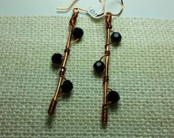Copper and crystal  designer party earring.Australian made elegant jewelry