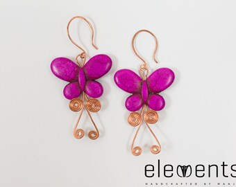 Playful butterfly earrings using solid copper and howlite butterfly beads-garden party- designer-unique-girly
