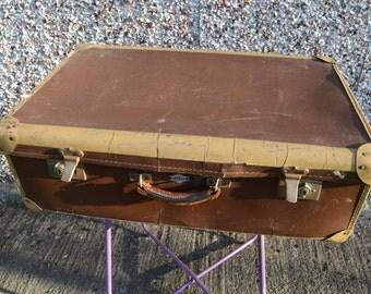 Vintage Retro Brown Leather Superslat Suitcase
