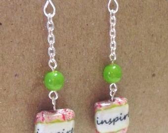 Inspire decoupage bead & Lime green dangle earrings