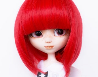 """Wig Red 9.5"""" for Pullip, Blythe and similar size doll. Red"""
