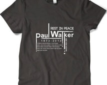 Paul Walker Tribut Fast and Furious See You Again Lyric For Brain O'Connor RIP Black White Men's T-shirt