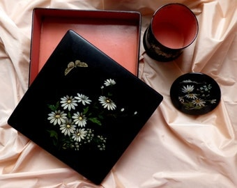 Boudoir lacquer boxes for hankies and powder. 1890s