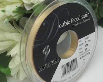 Full reel Berisfords 7mm Honey Gold (678) satin ribbon
