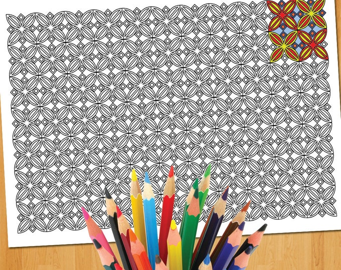 Colouring Geometric Design, Details Colouring, Geometric Art Coloring, Zen Art Coloring, Pattern Art Coloring Sheet, PDF Coloring Sheet