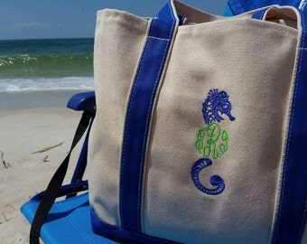 Seahorse Monogrammed Canvas Beach Tote