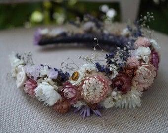 Dried Flower Crown, PROM school, sweet sixteen, Dried Floral Headband, Bridal Crown, Rustic Headband, Floral Head Wreath, Hair Accessories