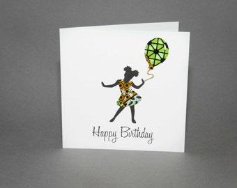 "African Fabric/Ankara/Wax Print Children's birthday card (6"" square) - Amayah"