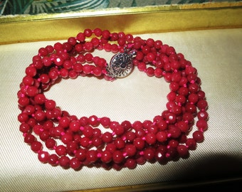 Lovely 3 strand faceted 5mm raw Brazilian Ruby necklace 19""