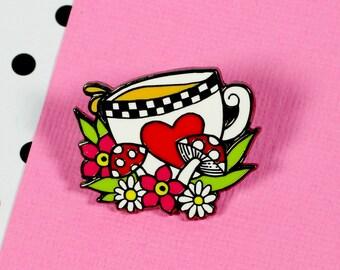 Alice 'Tea' Enamel Pin // Alice in Wonderland lapel pin, hard enamel pin // EP127