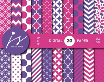 Hot Pink and Purple Digital Scrapbook Paper, Printable Paper, Seamless Paper Pattern Bundle Sale, Paper Pack Kit, Commercial Use, MI-489