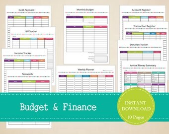 Budget and Finances Binder Set - Financial Printables - Printable and Editable - INSTANT PDF DOWNLOAD - 10 Pages