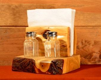 Rustic White Cedar Napkin Holder with Salt & Pepper Shakers