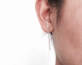 slim long bar earrings, minimal earrings, bar earrings