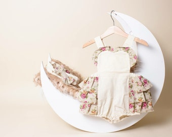 Girls Vintage Rose Frilly Romper with Matching Headband