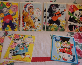 18 Vintage Children's Birthday Greeting Cards with original envelopes.All Unused.Good Condition.