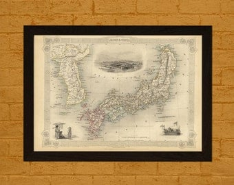High Resolution Map Of Japan Corea 1851 Vintage Map Wall Art Antique Map Poster Old Map Japan Map Corea  Bamboo Paper