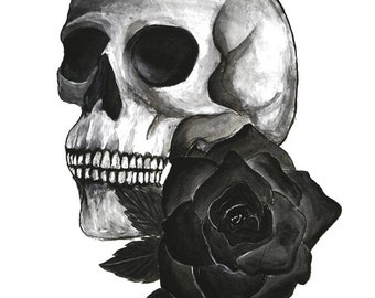 Skull and flower painting print