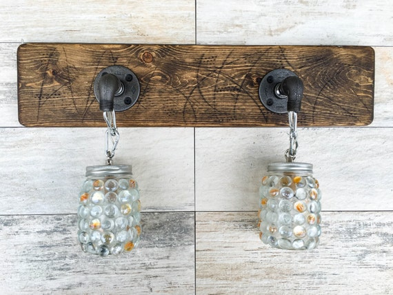 Rustic Industrial Modern Mason Jar Lights Vanity Light: Vanity Light Fixture 2 Mason Jar Gems Light Fixture By