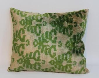 İkat Velvet Pillow Cover, 14'' x 16'' , Decorative Pillow, Handmade Silk Pillow, İkat Lumbar Pillow,  Shipping with Fedex 1-3 days