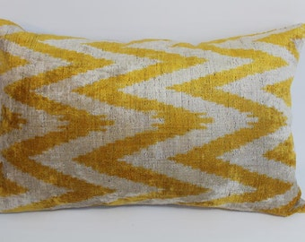 Yellow Ikat Velvet Pillow -  15'' x 22''  Yellow Zigzag Pillow  Sofa Pillows Lumbar Pillow Cover Velvet Pillow Cover Yellow Couch Pillow