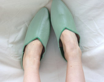 Pointed Moroccan Babouche Slippers, Sage Green
