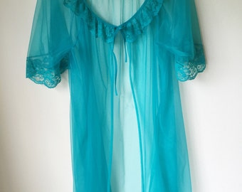Vintage 80s Lingerie Sheer Teal Lace Babydoll Robe Nightgown One Size Fits All