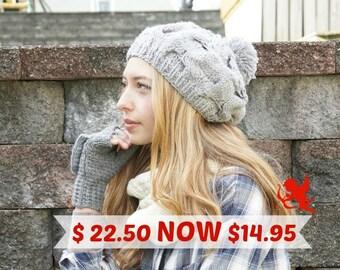 Knit hats women knit hat pom pom Slouchy beanie hat Womens winter hat, crochet, Gift for her