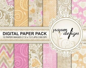 "Chic SALE papers ""Digital Paper Pack"" summer ""digital paper"" printable background vintage spring autumn Scrapbook Paper, 7.5 x 7.5 inch #33"