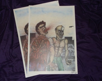 Zombie heart punch graphic gore art ltd print