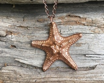 Starfish pendant in copper, natural jewelry, boho jewelry, pirates  treasures, copper Starfish necklace, handmade