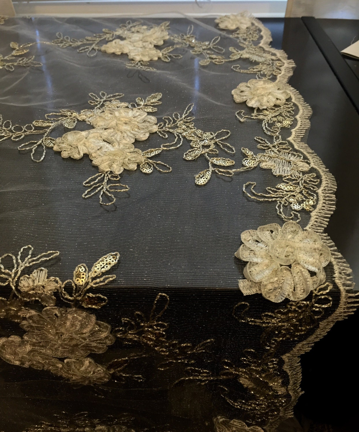 Sale White Embroidered Lace With Silver Sequence Overlay
