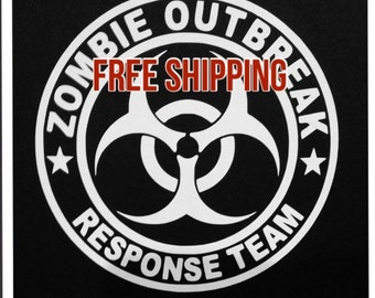 "Zombie Outbreak Response Team 5""x5"" premium vinyl ----- FREE SHIPPING in the U.S."