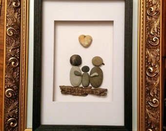 Pebble art, Pebble  family art, family  of three,  stone art, rock art