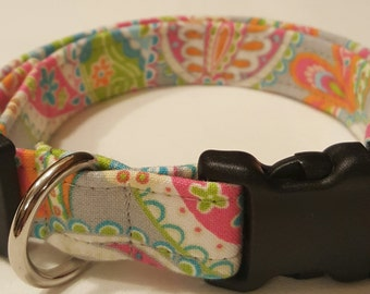 Dog Collar, Pastel Paisley, Paisley dog collar