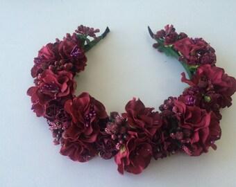 Romantic Handmade  Headband, Mexican Wedding, Maroon-color Frower Crown-Blush, wedding & evening headband, Frida Kahlo Headpiece