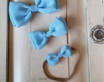 Baby Blue Chiffon Bow