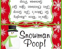 Snowman Poop Treat bag topper // Instant download // Printable