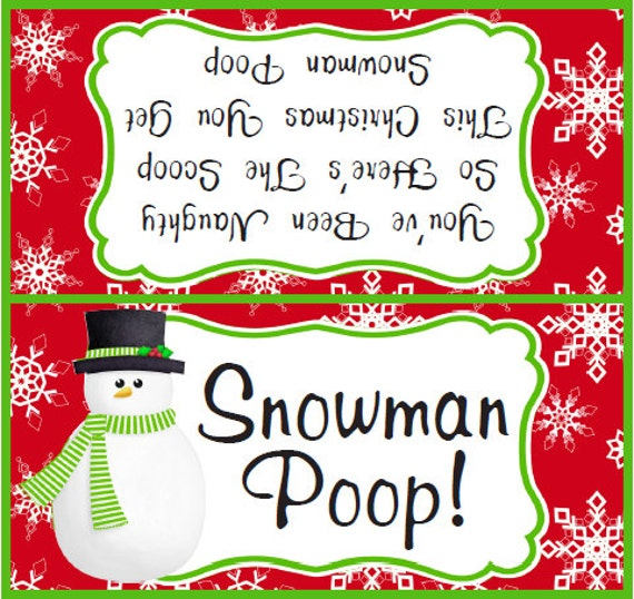 Universal image with regard to snowman poop printable bag topper