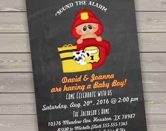 firefighter baby shower invitations printable, baby shower invites fireman baby shower invitations boy, couples baby shower printed