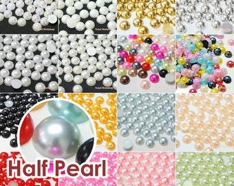 Colors Half Pearl Round Flat Back Resin Cabochons Deco Scrapbooking Nail Art Craft 2/3/4/5/6/7/8/9/10/12/14mm - 50/200/1000pcs