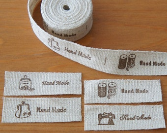 1 metre/ 3 metres: Linen Cotton Fabric Label Hand Made and Home Style 15mm Cut and Sew Zakka Scrapbooking Craft DIY