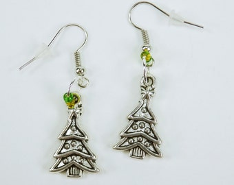 Earrings Christmas trees on silver-colored earrings Christmas winter pendant earrings with pearls yellow green Christmas tree