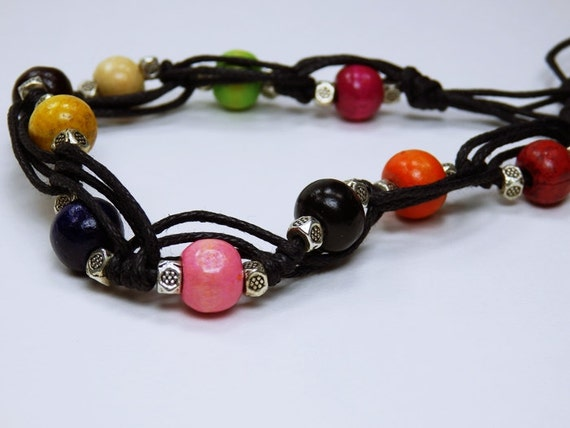 Bracelet, colorful wooden beads in Tibetan style with metal beads on black fabric Band