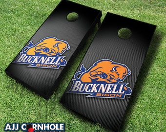 Officially Licensed Bucknell University Bison Slanted Cornhole Set with Bags - Bean Bag Toss - Bucknell Cornhole - Corn Toss - Corn hole